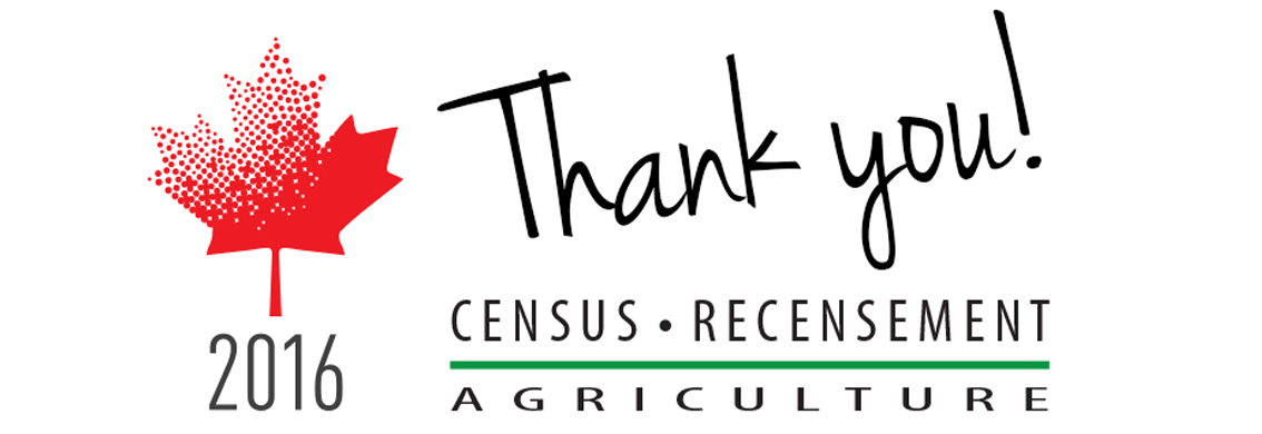 Stylized maple leaf with text: Thank you! 2016 Census – Recensement, Agriculture