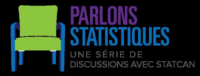 Une chaise avec le texte suivant à côté : Parlons statistiques : une série de discussions avec StatCan
