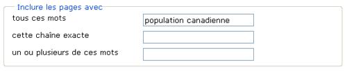 Copie d'écran : Exemple de recherche pour la section « Inclure les pages avec tous ces mots ». Exemple de recherche entré, population canadienne.
