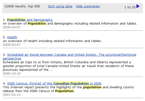 Screen capture: Search results for the example Canadian population. Canadian and population are highlighted in yellow wherever they appear in the search results.