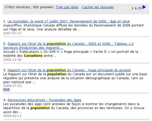 Copie d'écran : Résultats de la recherche pour l'exemple population canadienne. Les mots canadienne et population sont en surbrillance jaune partout où ils apparaissent dans les résultats de la recherche.