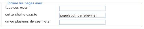 Copie d'écran : Exemple de recherche pour la section « Inclure les pages avec cette chaîne exacte ». Exemple de recherche entré, population canadienne. Exemple de recherche entré, population canadienne.