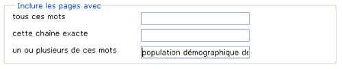 Copie d'écran : Exemple de recherche pour la section « Inclure les pages avec un ou plusieurs de ces mots ». Exemple de recherche entré, population démographique démographie.