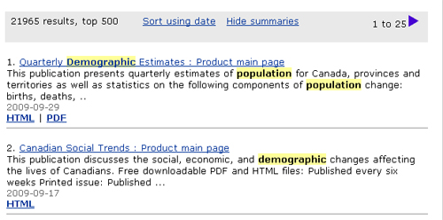 Screen capture: Search results for the example population demographic demography. Population, demographic and demography are highlighted in yellow wherever they appear in the search results.