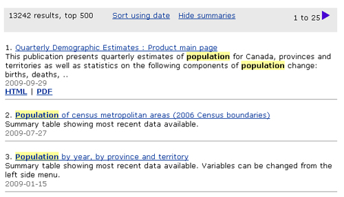 Screen capture: Search results for the example population NOT health. Population is highlighted in yellow wherever it appears in the search results.