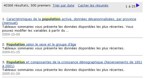 Copie d'écran : Résultats de la recherche pour l'exemple population NOT santé. Le mot Population est en surbrillance jaune partout où il apparaît dans les résultats de la recherche.