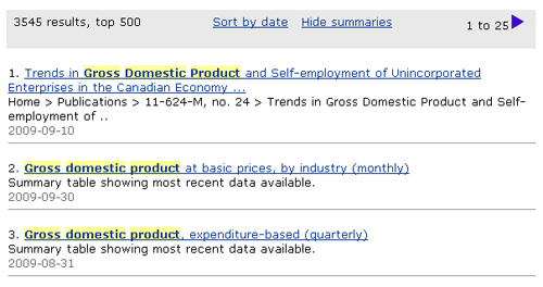 Screen capture: Search results for the example gross domestic product. Gross domestic product is highlighted in yellow wherever it appears in the search results.