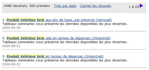 Copie d'écran : Résultats de la recherche pour l'exemple produit intérieur brut. L'expression produit intérieur brut est en surbrillance jaune partout où elle apparaît dans les résultats de la recherche.