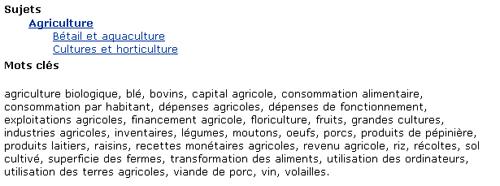 Copie d'écran : Le mot cultures apparaît en ordre alphabétique sous la section des mots-clés de l'enregistrement du catalogue.
