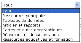 Copie d'écran : Image du menu déroulant complet pour « Limiter à type d'information ». Les options sont les suivantes : Ressources principales, Tableaux de données, Articles et rapports, Cartes et outils géographiques, Définitions et documentation, Ressources éducatives et formation.