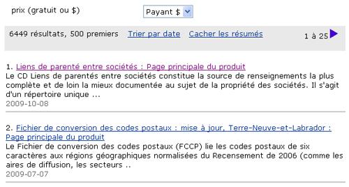 Copie d'écran : Exemple de recherche pour la section « Limiter à prix (gratuit ou $) ». Exemple de recherche sélectionné du menu déroulant, Payant $.
