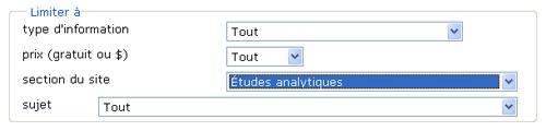 Copie d'écran : Exemple de recherche pour la section « Limiter à section du site ». Exemple de recherche sélectionné du menu déroulant, Études analytiques.