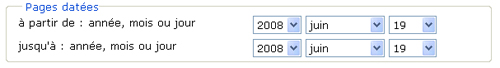 Copie d'écran : Exemple de recherche pour la section « Pages datées à partir de : année, mois ou jour ». Exemple de recherche sélectionné des menus déroulants, 2008, juin, 19.