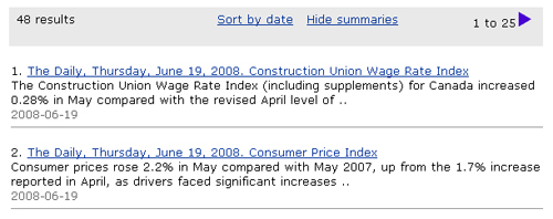 Screen capture: Search results for the example 2008 June 19. Search results include only those dated 2008-06-19.