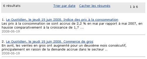 Copie d'écran : Résultats de la recherche pour l'exemple 2008, juin, 19. Les résultats de la recherche comprennent seulement ceux datés du 19 juin 2008.