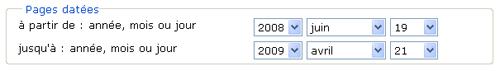 Copie d'écran : Exemple de recherche pour la section « Pages datées jusqu'à : année, mois ou jour ». Exemple de recherche sélectionné des menus déroulants, 2008, juin, 19 à 2009, avril, 21.