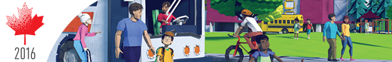 Drawing of a neighbourhood showing people walking, cycling, boarding a bus; also shows a stylized maple leaf with the text 2016.
